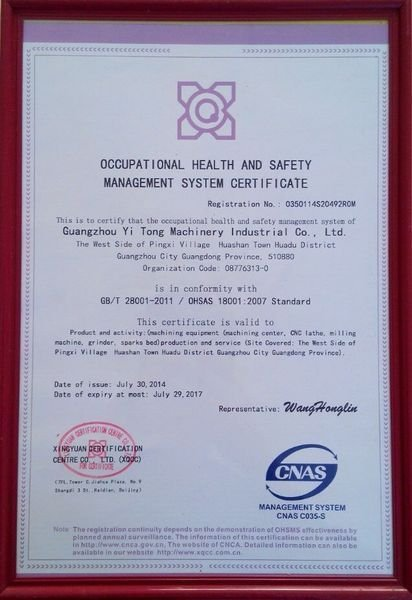 Occupation health and safety management system certification