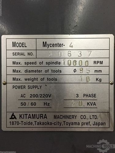 Used kitamura mycenter4 machining center machinestation usa