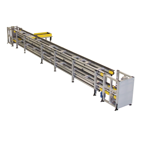 Series hd lbp non synchronous pallet conveyor with two pneumatic elevator lowerators