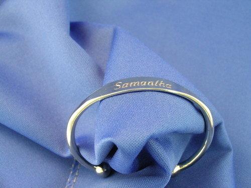 Diamond engraved silver bracelet