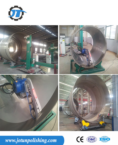 Tank polishing machine for inside and outside