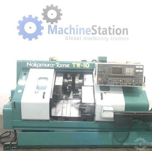 Used nakamura tw 10 multi axis twin turret cnc turning center main