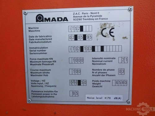 Nameplate of amada it s2 103 machine