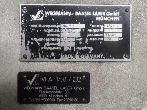 Nameplate of wegmann baasel vfa 1750 machine