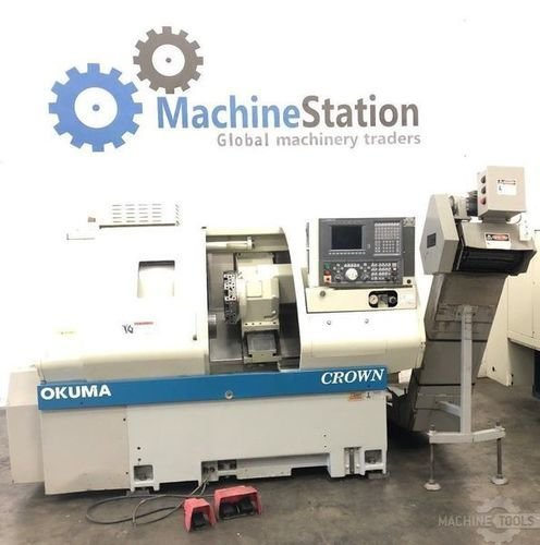 Used okuma crown 762s bb cnc turning center big bore lathe