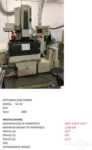 MITSUBISHI VA10 Wire EDM Used - Good #429496 - MachineTools.com